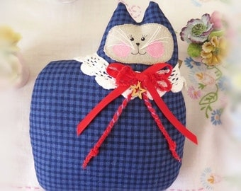 July 4th Americana Cat Pillow Doll Cloth Small 6 inch Cat, PATRIOTIC Royal/Navy Check Primitive Handmade CharlotteStyle Decorative Folk Art