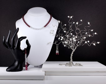Bridesmaid Jewelry Set Marsala Wine Berry Pearl Bridal Crystal Wedding Jewelry Necklace Bracelet Earrings
