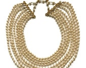Vintage Miriam Haskell Eight-Strand Cream Baroque Pearl Necklace