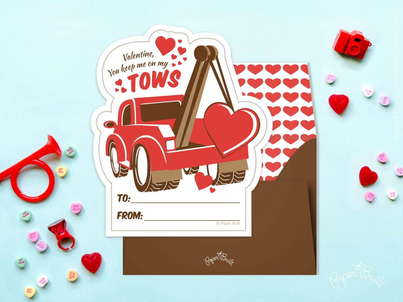 Valentines Day Card, Children Valentines Cards, Kids Valentine Card, Boy  Valentine, Tow