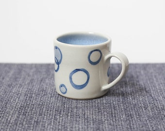 Cute Espresso Cup // Handpainted Bubbles Coffee Lover's Gift // Small Ceramic Child Mug, Mother's Day Gift