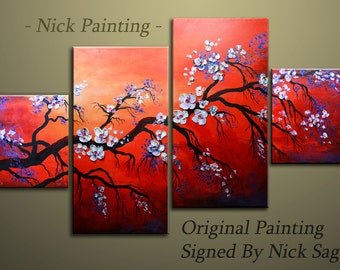 "Impressonist Tree painting Original Asymmetrical wall decor Thick textured Oil and Acrylic - Flowers in a Red Sky - By Nick Sag 48"" x 24"""