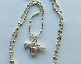 "Pink Rhinestone ""Princess"" Pendant Necklace - Vintage Sterling Silver and Rhinestone"