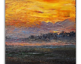 Abstract sunrise oil painting on canvas ready to hang, original art and gift idea, textured sky painting, contemporary art