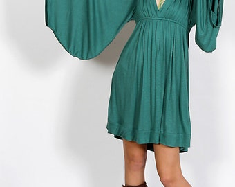Goddess Dress in Teal for Womens Boho Chic Bell Sleeves Summer Fashion Festival Wear Gift Wholesale
