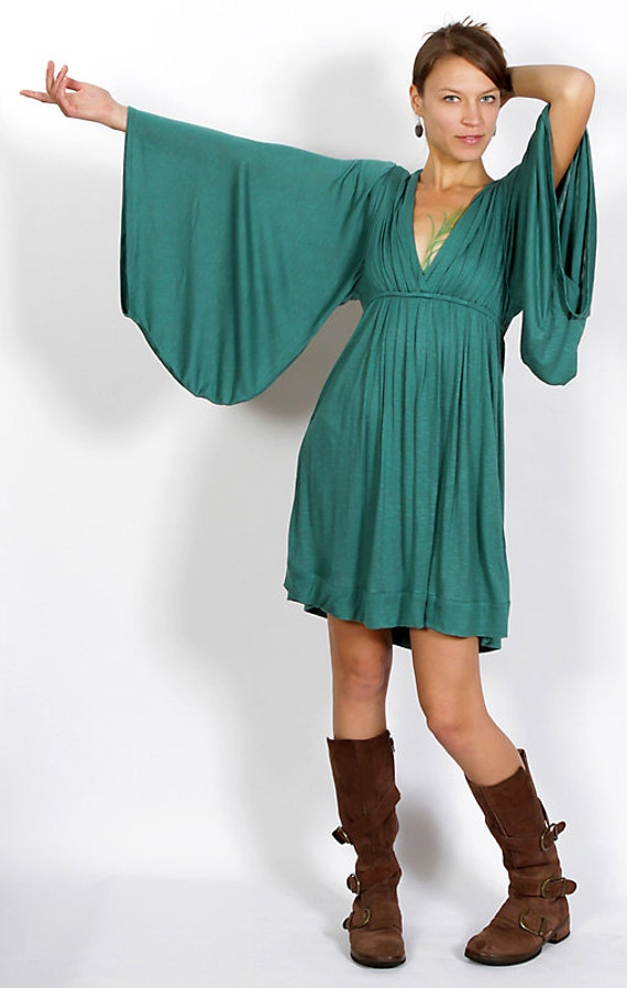 Bell Sleeve Goddess Dress in Teal Spring Fashion Festival Wear Gift for Her Party Dress