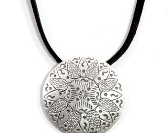 "Sterling Silver Pendant/ Necklace, Round Engraved Pendant, Sun Flower Pendant,Mandala Pendant,1.4"" Disc,Boho Pendant,Hippie Pendant,Handmade"