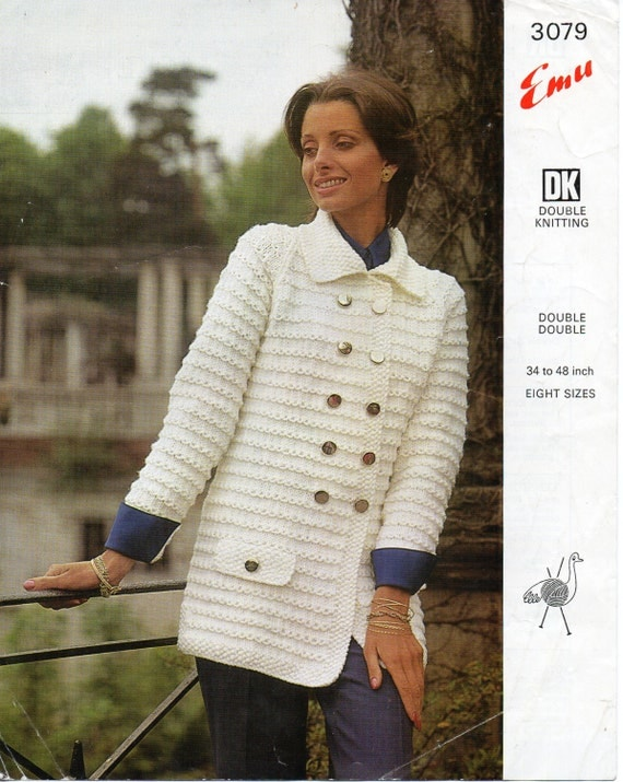 Double Knitting Ladies Jacket Pattern : Vintage womens coat knitting pattern pdf chunky ladies double