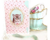 Cat card, love, cat birthday card, vintage cat, cat lovers card, tabby cat, pink, mint green, vintage, rose wallpaper, shabby vintage style