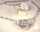 Designer ORA Art Deco Vintage Rhinestone Necklace, 1920 Wedding Pave Silver Link Statement Gatsby Jewelry Flapper Downton Abbey Bridal