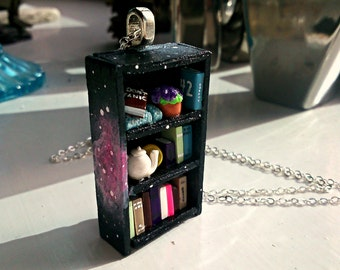 Don't Panic - Hitchhiker's Guide to the Galaxy Bookshelf Necklace - Space Motif - Book Jewelry by Coryographies (Made to Order)