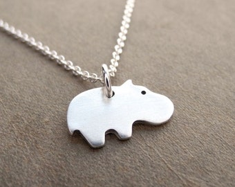 Tiny Hippo Necklace, Tiny Baby Hippo, Fine Silver, Sterling Silver Chain, Made To Order
