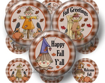 Fall Scarecrows, Bottle Cap Images, Digital Collage Sheet, 1 Inch Circles, Printable, Digital Download, 1 Inch Round Fall Images, (No. 1)