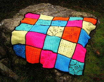 Baby Blanket - Crochet Granny Squares - Lap Afghan - Rainbow - Stained Glass Effect - Handmade in Ireland by me