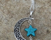 Silver Crescent Moon Necklace, Moon Pendant Necklace with Turquoise Star & Teardrop, Bohemian, Moon and Star Necklace, Boho Gift for Her