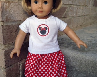 American Girl Minnie Mouse Outfit- skirt, shirt, ears