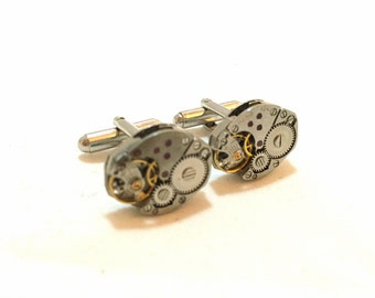 Mens Steampunk Cufflinks Watch Movements from Old Vintage Watches, Steampunk Jewelry, Silver Steam punk Cuff links, Watch Movement Cufflinks