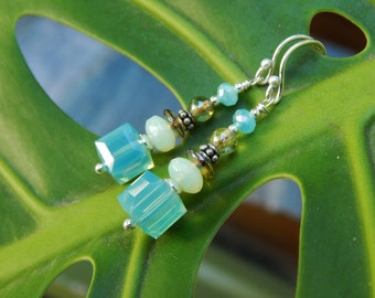 Aqua Sparkle Earrings - One-of-a-Kind - Swarovski Crystal Cubes, Vintage Czech Glass, Vintage Beads, Crystals & Sterling Silver Ear Wires