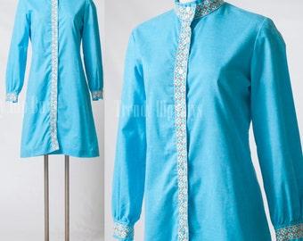 Vintage 60s Dress, Mad Men Dress, Vintage blue dress, Hippie dress, Boho dress, Bohemian dress, embroidered dress - S/M