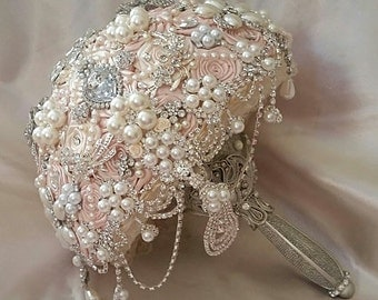PALE BLUSH PINK Bridal brooch Bouquet - Deposit for a Custom Blush Pink Jeweled Wedding Bouquet, Jeweled Bouquet, Brooch