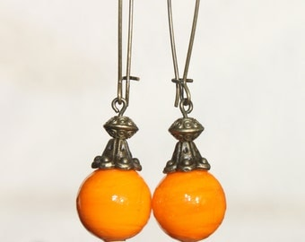 Orange Earrings Glass Earrings Dangle Boho Chic Earrings Brass Earrings Long Earrings Jewelry