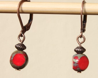 Red Earrings Czech Earrings Glass Earrings Dangle Earrings Boho Chic Earrings Small Earrings Gift Ideas
