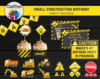 Small Construction Birthday Party Package Set - Printable - DIY - Invitation Included - 7 Items