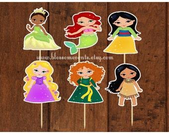 Princess Cupcake Toppers (12) Set #2