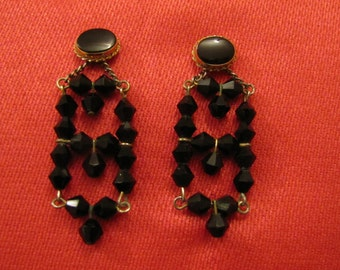 Interesting Black Glass Bead Earring Jackets