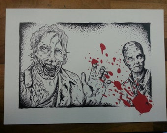 The Walking Dead Zombie illustration (A4 print)