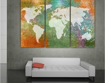 Big world map etsy world map multi color canvas wall art large wall art canvas map world map gumiabroncs Gallery