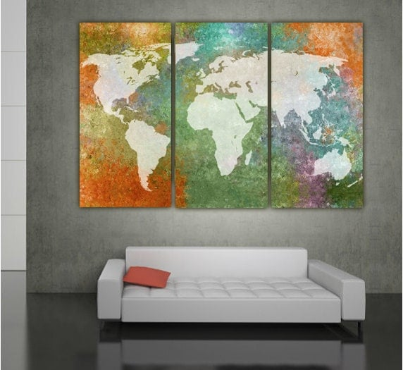 Wall Art Multi Canvas : World map multi color canvas wall art large