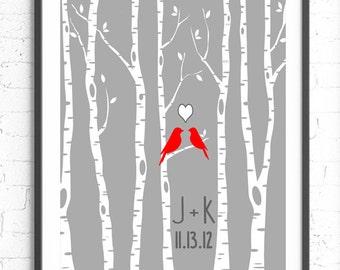 Personalized Wedding Gift, Custom Anniversary Gift, Wall Art, Engagement Gift, Personalized Wall Art, Birch Tree Bird Unique Wedding Gift