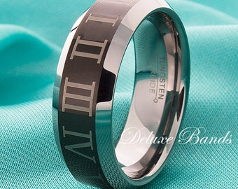 Roman Numeral Tungsten Wedding Ring,Customized Roman Numerals Tungsten Band,Tungsten Roman Numeral Ring,Anniversary Band In Roman Numerals