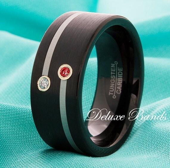 Black Tungsten Band Ruby And Diamond Tungsten Wedding Band 9mm