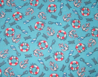 BTY Red, White & Blue NAUTICAL Print 100% Cotton Quilt Craft  Fabric by the Yard