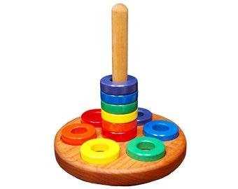 Wooden Ring Stacker Toy - Round
