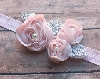 Shabby Chic Pink Chiffon Flower Baby Headband