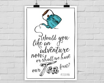 "fine-art print ""Adventure or tea"" Peter Pan"