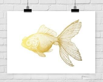 fine-art print fish goldfish fake gold