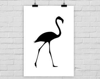 fine-art print flamingo modern minimal black white