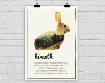 fine-art print poster HIRAETH bunny home homesick