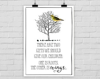 "fine-art print ""TWO GIFTS"" roots wings poster kids room nursery tree bird"