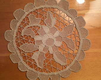 Antique 1940 Needlelace doily hand made beige Floral Design Never used New like.For home decor sewing clothing craft  bourgeois shabby chic