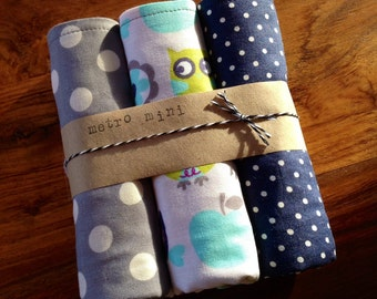 Burp cloths owl polka dot - set of 3 - cotton with flannel backing