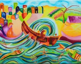 Jonah - Original Oil Painting On Large Canvas - Biblical Story Wall Art  Painting - 27.3''x39'' (70cmx100cm)