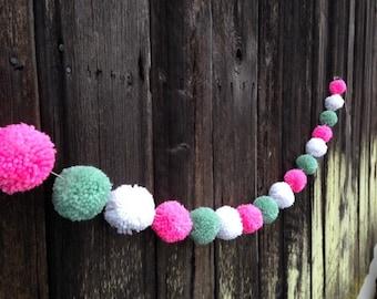 Yarn Pom Pom Garland: Mint, Pink and White