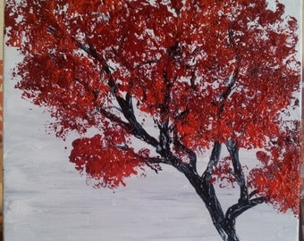 Red fall tree acrylic painting,  12in x 12in