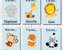 Baby Boy Nursery Art, Jungle Nursery Prints, Safari Animal Prints, Blue Gray Nursery, Blue Grey Nursery, Baby Boy Gift
