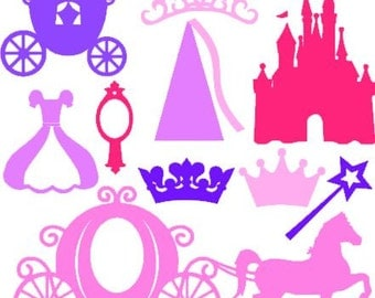 Princess Pack instant download cut file - SVG DXF EPS ps studio3 studio